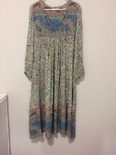 Spell & The Gypsy Oasis Opal Bird Print Sheer Boho Gold Lurex Midi Dress S