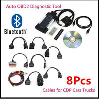 2017 Hot  8PCS Car Cables + OBD2 Diagnostic Tool - Bluetooth TCS CDP Pro Plus