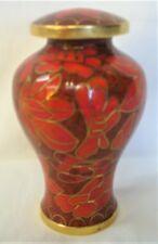 SMALL KEEPSAKE URN--BEAUTIFUL ORANGE / RED FLOWER DESIGN-- CLOISONNE FINISH
