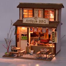 DIY Wooden Dollhouse Miniature Kit w/ Furniture, Light BBQ Restaurant Gifts