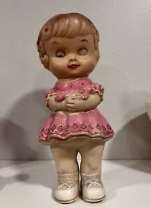 Vintage 1962 Edward Mobley Rubber Girl Doll in Pink Dress Squeaky Toy
