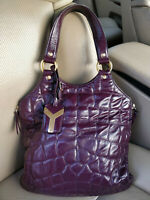 YSL Yves Saint Laurent Croc Embossed Patent Leather Small Tribute Tote Bag Quilt