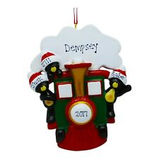 NAME PERSONALIZED Bears on Train Family of 3 Christmas Ornament Holiday Gift