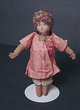 "Antique Cloth Stockinette Doll Handmade India Man 7"""