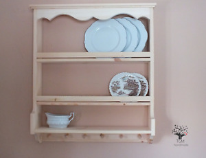 s103 Timber Shelf | Timber Shelving Unit With Hooks | Pine Kitchen's Cabinet |
