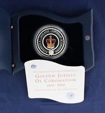 """2003 Australia Plata Prueba 1oz moneda """"Coronación Aniversario"""" en caso/cert. de autenticidad (Z5/10)"""