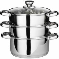 3PC 22CM STAINLESS STEEL STEAMER COOKER POT SET GLASS LIDS 3 TIER PAN COOK FOOD