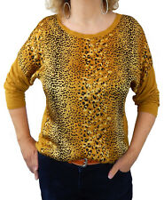 51723625c818bf Ella Jonte Leopard T-Shirt Blouses Shirt Yellow Curry Made in Italy 40 42  SIZE