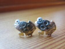 Sterling Silver VTG Unique Small Child Girl Woman Frogs Carved Stud Earrings