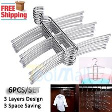 6x Sweater Shirt Hanging Clothes Hanger 3 Layers Clothing Storage Space Saver US