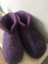 Hand Knitted Felted Scandinavian Style Hygge Boot Slippers Size  6