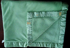 Just Born Lime Green Precious Little One Sherpa/ Satin Baby Blanket 30 x 38 EUC