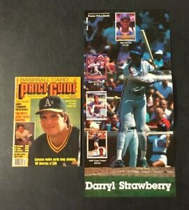 Baseball Card Price Guide Monthly December 1988 w/ Darryl Strawberry Poster Mets