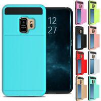 Slide Card Slot Holder Wallet Case Shockproof Cover For Samsung S6 S7 S8 S9 Plus