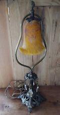 Lampe ancienne avec tulipe en pâte de verre jaune orangée - Electricité à revoir