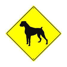 Boxer Symbol Crossing Animal Xing Metal Aluminum Novelty Dog Sign 12x12
