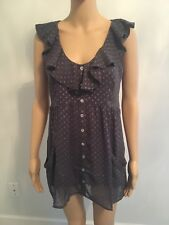 Daniel Rain Grey Gray Polka Dotted Patterned Short / Cap Sleeve Shirt Top Size S