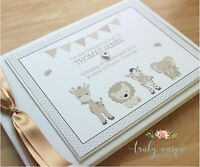 LITTLE ZOO Personalised Christening/Baptism Guest Book Photo Album Boy or Girl