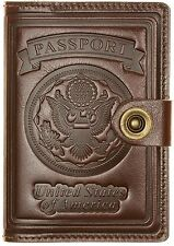 Villini - Leather US Passport ID Card Holder-Travel Wallet Case-Men Women Brown