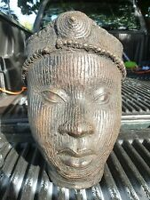 FINE 20TH C CASTING AFRICAN ART BENIN BRONZE OF AN AFRICAN PRINCESS