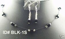 Fabulous Czech Crystal jewelry set  Squar shape - Black