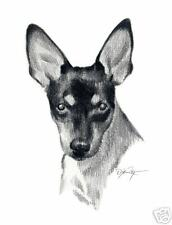 Toy Fox Terrier dog pencil 8 x 10 art print signed by artist Dj Rogers