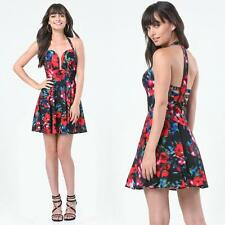 BEBE FLORAL PRINTED HALTER BACK CRISSCROSS DRESS NWT NEW $129 XXSMALL XXS 00