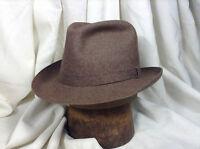 Vintage Royal Stetson Fedora Hat Heathered Felt Brown Color Size 7