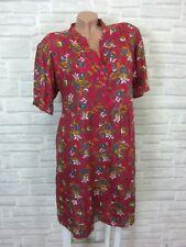 Hippie Blogger Hängerchen Kleid Tunika Volant Print 38 40 42 Pink K184 NEU