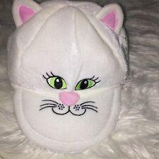 Scholastic Cat Cap Hat EUC White Pink Ears Adjustable Snap Strap