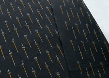 Artisan Ikat Cotton Fabric Black Hand-Woven & Hand-Dyed. India Homespun
