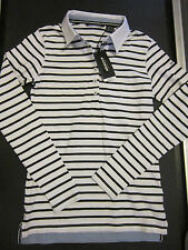 NWT ABACUS GOLF Ladies White & Black Striped Polo Shirt Long Sleeve STRETCH XS