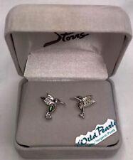 "Storrs Wild Pearle Handmade Abalone Shell Stud Earrings ""Hummingbird"" In Giftbox"