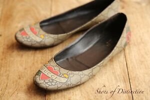 Gucci Ladies Monogram Brown Canvas GG Shoes Flats Pumps UK 5.5 EU 38.5 US 8.5