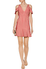 "NWT Authentic Herve Leger ""ESTELLE"" XS Pale Coral Flared Bandage Dress - $1,290"