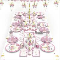 Unicorn Party Supplies Kids Girls Birthday Theme Tableware Plates Cups BB