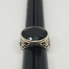 Silpada Sterling Silver Solitaire Faceted Black Onyx Scroll Ring ~ Size 8