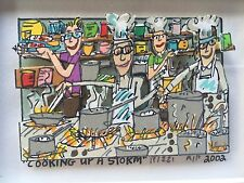 "James Rizzi: original 3d ""Cooking up a Storm"", autografiado, autografiada, están agotadas, 2002"