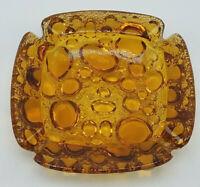 "Vintage Mid Century Modern Blenko Orange Amber Bubble Glass Square Ashtray 4"""