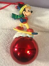 Christmas ornament Disney Mickey Mouse snowboarding on red ball  CH4994