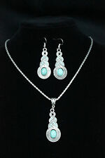 TURQUOISE Blue Crystal Rhinestone & Tibetan Silver PENDANT Necklace & EARRINGS