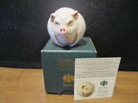 Harmony Kingdom Curly Pig UK Made Marble Resin Box Figurine Roly Poly