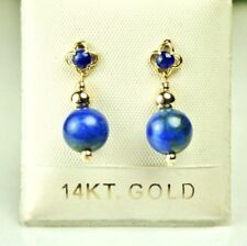14k solid y/gold 8mm round natural Lapis Lazuli earrings screw back 1.6 grams