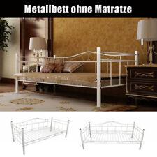 Metallbett Einzelbett Bettgestell Bettrahmen 90x200 cm Gästebett Bett Sofa Weiß
