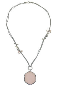 Silpada N2190 Sterling Silver Pink Soapstone French Cabaret Necklace Pearl .925
