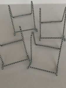 """A lot of 4pcs vtg 3""""x4"""" Twisted Silver Wire Stand Display EASEL Good Quality."""