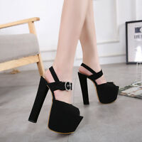 Women Super High Heel Platform Buckle Slingback Sandals Peep Toe Anke Strap Shoe