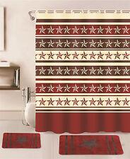 15PC BURGUNDY WESTERN STAR BATHROOM BATH RUG CARPET MATS SHOWER CURTAIN HOOKS
