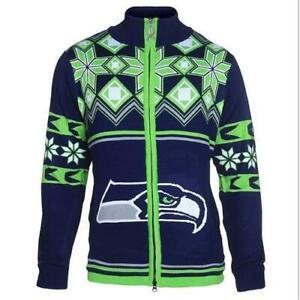 Large Official Licensed NFL Seattle Seahawks Ugly XMAS Split logo Jacket