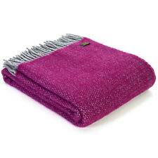 TWEEDMILL TEXTILES KNEE RUG 100% Wool Sofa Blanket ILLUSION GRAPE PURPLE SILVER